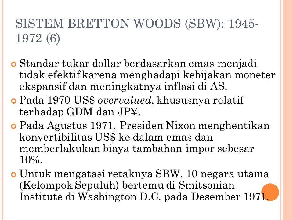 SISTEM BRETTON WOODS (SBW): 1945- 1972 (5) Nilai SDR: 1. Awalnya, rata2 tertimbang atas 16 mata uang dengan pangsa ekspor dunia > 1%; 2. Pada 1981, ko