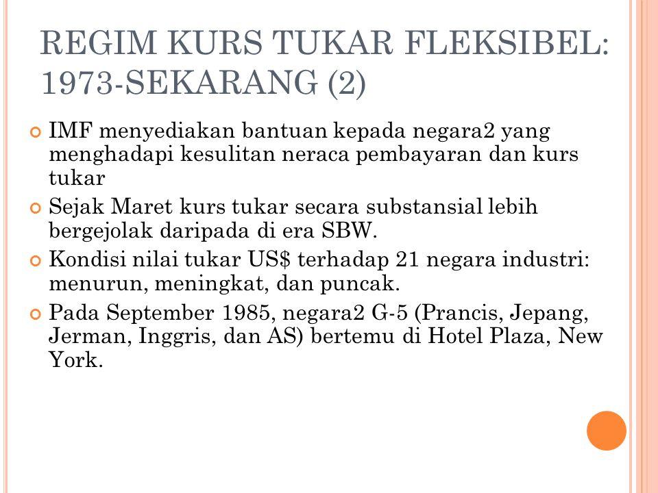 REGIM KURS TUKAR FLEKSIBEL: 1973-SEKARANG (1) Dengan matinya SBW, pada Januari 1976 anggota IMF bertemu di Jamaika untuk menyetujui peraturan SMI yang