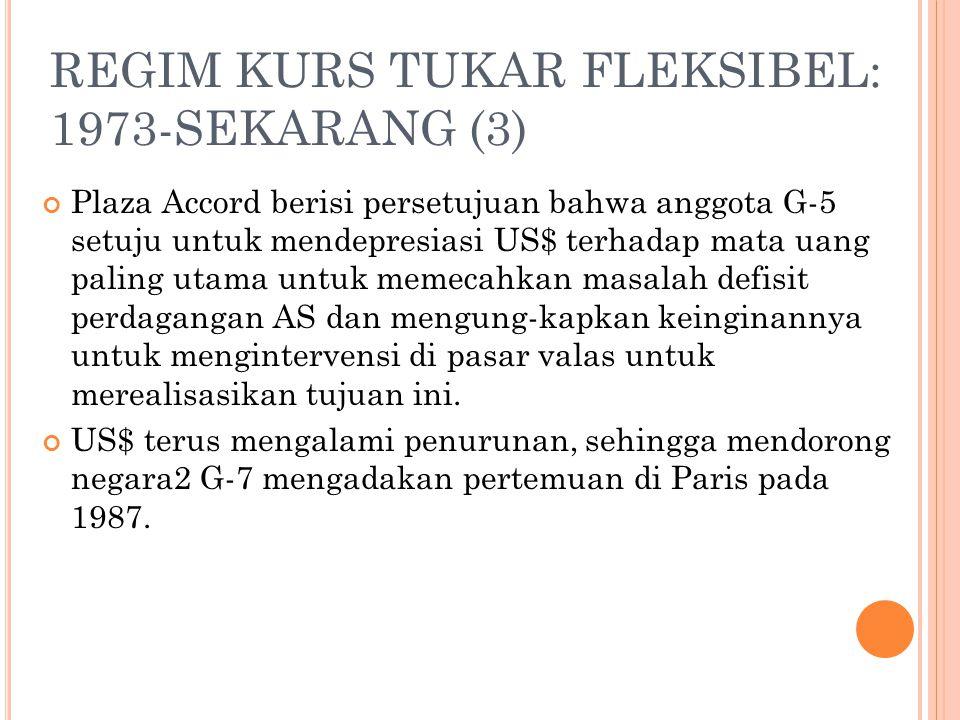 REGIM KURS TUKAR FLEKSIBEL: 1973-SEKARANG (2) IMF menyediakan bantuan kepada negara2 yang menghadapi kesulitan neraca pembayaran dan kurs tukar Sejak