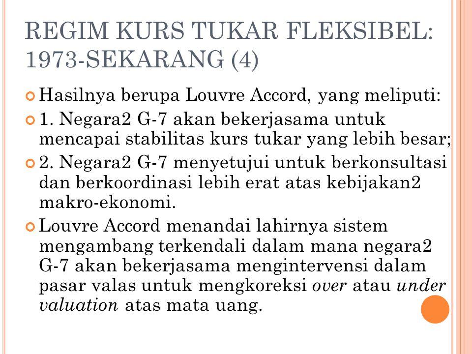 REGIM KURS TUKAR FLEKSIBEL: 1973-SEKARANG (3) Plaza Accord berisi persetujuan bahwa anggota G-5 setuju untuk mendepresiasi US$ terhadap mata uang pali