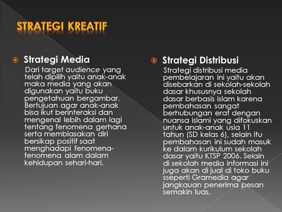  Strategi Media Dari target audience yang telah dipilih yaitu anak-anak maka media yang akan digunakan yaitu buku pengetahuan bergambar. Bertujuan ag