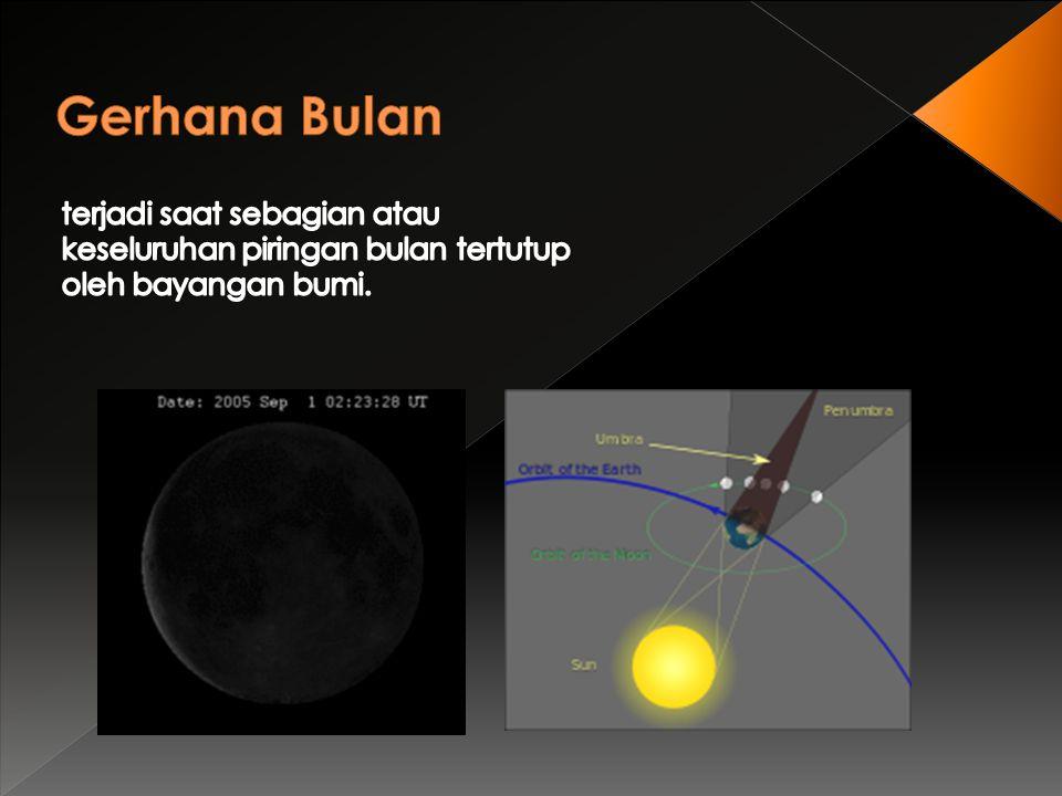 Gerhana Ditinjau dari Segi Ilmu Pengetahuan Manfaat Gerhana Manfaat gerhana terutama gerhana bulan yaitu untuk mengecek ketepatan perhitungan koordinat benda langit.
