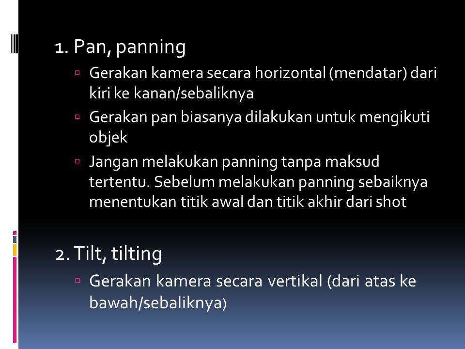 1. Pan, panning  Gerakan kamera secara horizontal (mendatar) dari kiri ke kanan/sebaliknya  Gerakan pan biasanya dilakukan untuk mengikuti objek  J