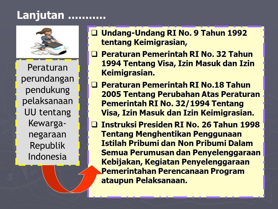 Lanjutan...........  Undang-Undang RI No. 9 Tahun 1992 tentang Keimigrasian,  Peraturan Pemerintah RI No. 32 Tahun 1994 Tentang Visa, Izin Masuk dan