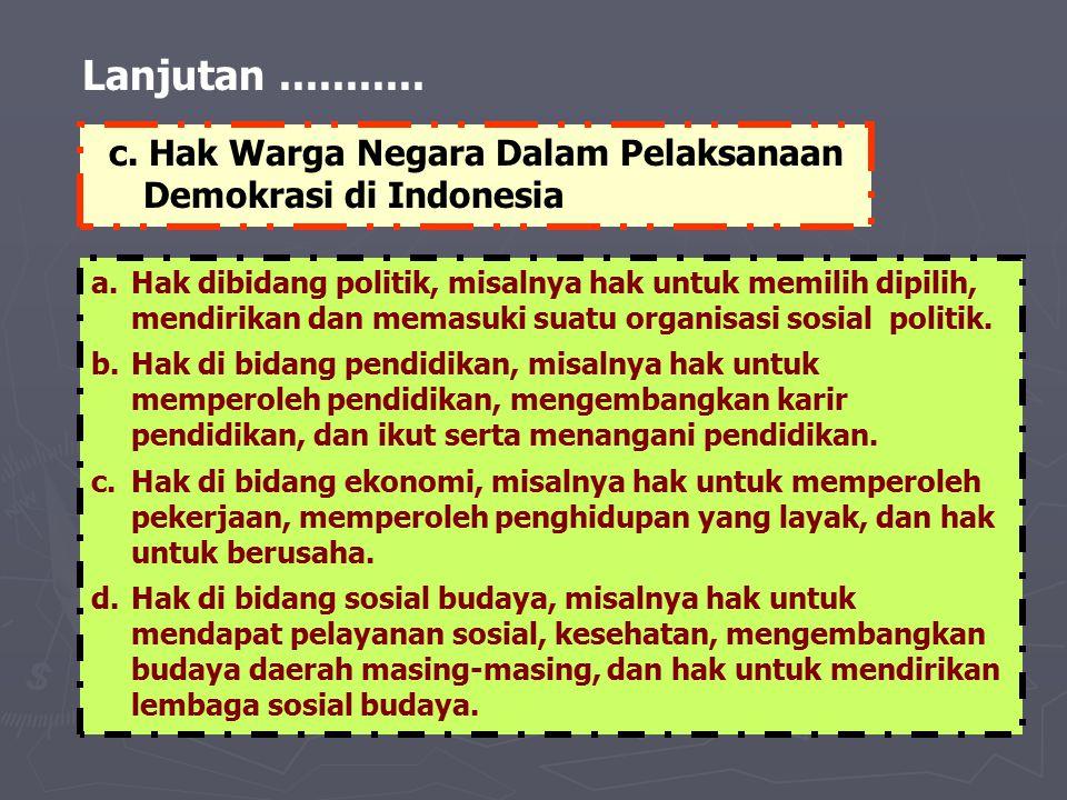Lanjutan........... a.Hak dibidang politik, misalnya hak untuk memilih dipilih, mendirikan dan memasuki suatu organisasi sosial politik. b.Hak di bida