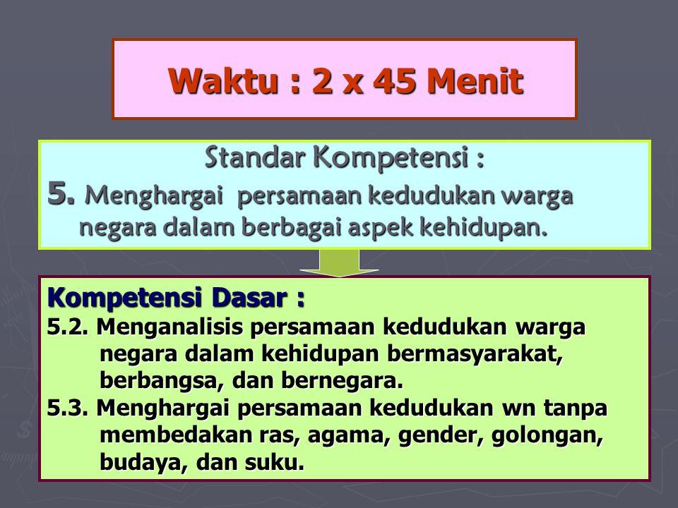 Waktu : 2 x 45 Menit Kompetensi Dasar : 5.2. Menganalisis persamaan kedudukan warga negara dalam kehidupan bermasyarakat, negara dalam kehidupan berma