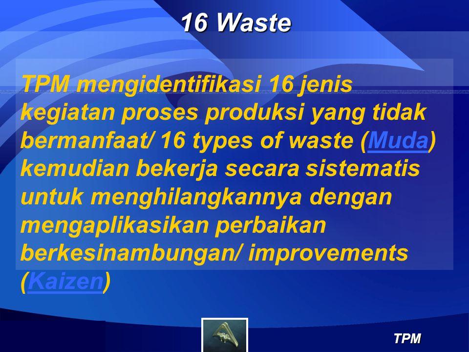 16 Waste TPM TPM mengidentifikasi 16 jenis kegiatan proses produksi yang tidak bermanfaat/ 16 types of waste (Muda) kemudian bekerja secara sistematis