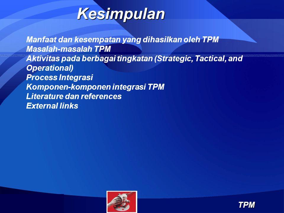 KesimpulanTPM Manfaat dan kesempatan yang dihasilkan oleh TPM Masalah-masalah TPM Aktivitas pada berbagai tingkatan (Strategic, Tactical, and Operatio