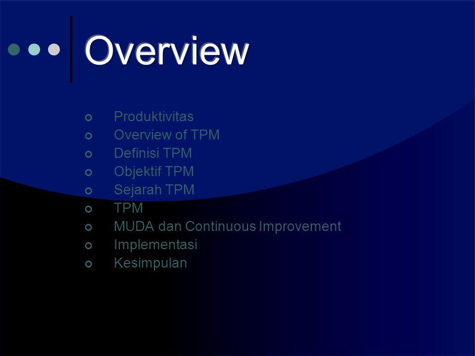Produktivitas Overview of TPM Definisi TPM Objektif TPM Sejarah TPM TPM MUDA dan Continuous Improvement Implementasi Kesimpulan
