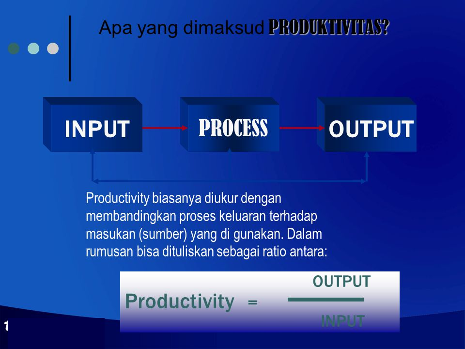 PRODUKTIVITAS? Apa yang dimaksud PRODUKTIVITAS? INPUT PROCESS OUTPUT Productivity = INPUT Productivity biasanya diukur dengan membandingkan proses kel