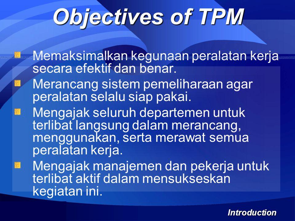 Pengaplikasian TPM pertama kali dilakukan di Jepang tahun 1951, sedangkan pemikiran awal tentang TPM ini sebenarnya datang dari industri di Amerika.