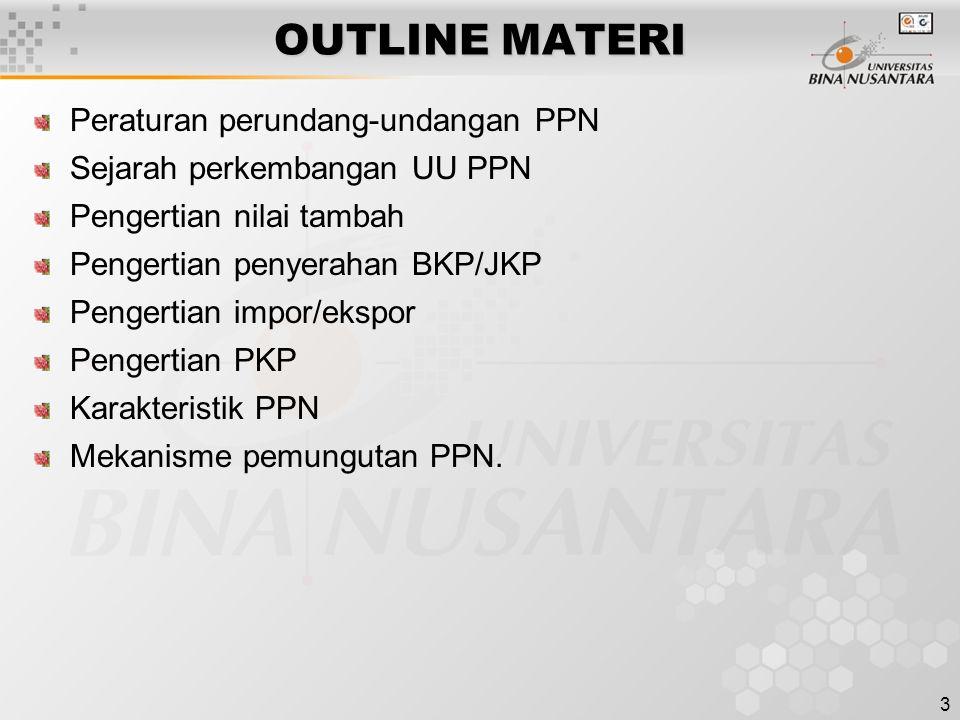 3 OUTLINE MATERI Peraturan perundang-undangan PPN Sejarah perkembangan UU PPN Pengertian nilai tambah Pengertian penyerahan BKP/JKP Pengertian impor/e