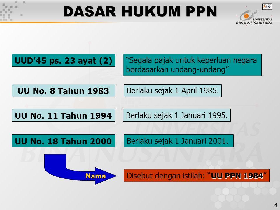 4 DASAR HUKUM PPN UU No.18 Tahun 2000 UU No. 8 Tahun 1983 UU No.