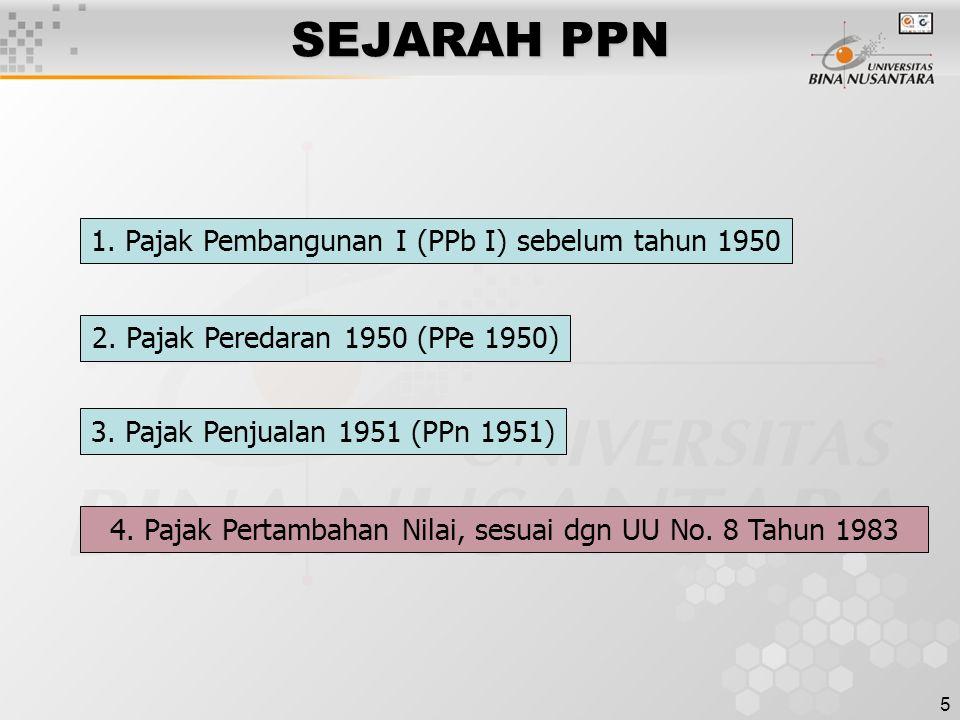 5 SEJARAH PPN 1. Pajak Pembangunan I (PPb I) sebelum tahun 1950 2. Pajak Peredaran 1950 (PPe 1950) 3. Pajak Penjualan 1951 (PPn 1951) 4. Pajak Pertamb