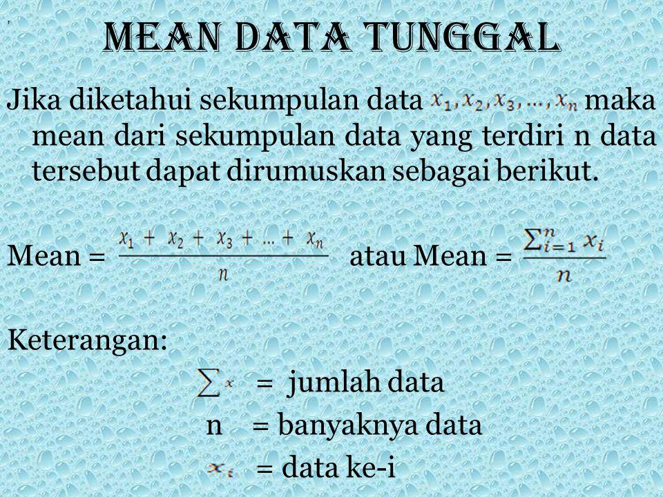 Mean data tunggal Jika diketahui sekumpulan data maka mean dari sekumpulan data yang terdiri n data tersebut dapat dirumuskan sebagai berikut. Mean =