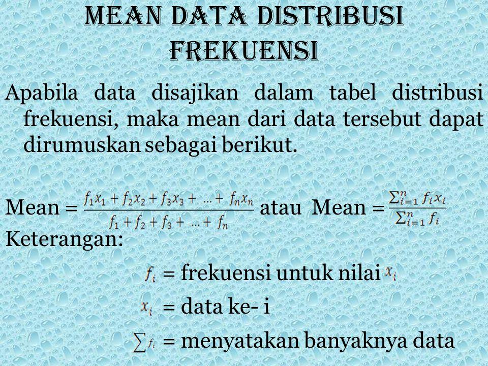 Mean data distribusi frekuensi Apabila data disajikan dalam tabel distribusi frekuensi, maka mean dari data tersebut dapat dirumuskan sebagai berikut.