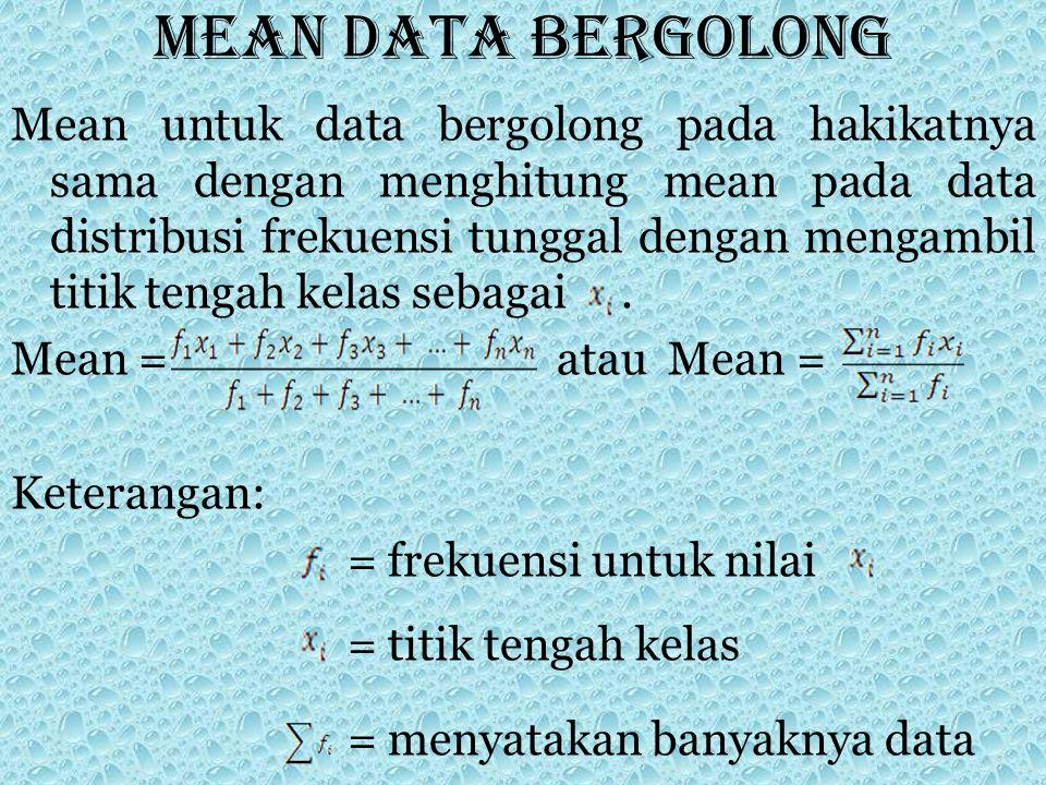 Mean data bergolong Mean untuk data bergolong pada hakikatnya sama dengan menghitung mean pada data distribusi frekuensi tunggal dengan mengambil titi