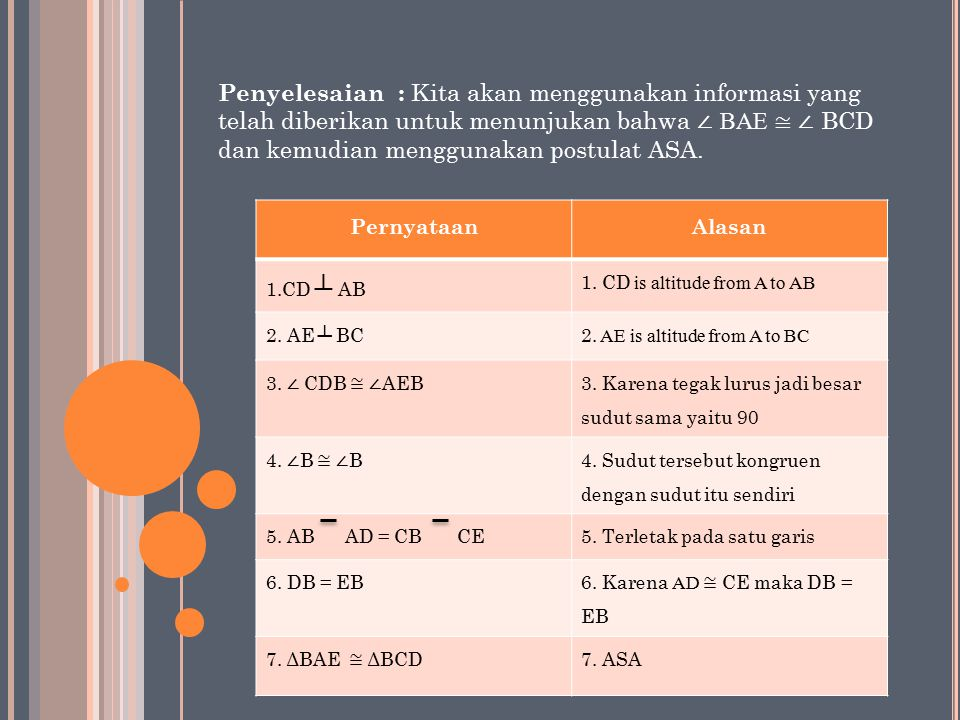 PernyataanAlasan 1.CD ┴ AB 1. CD is altitude from A to AB 2.