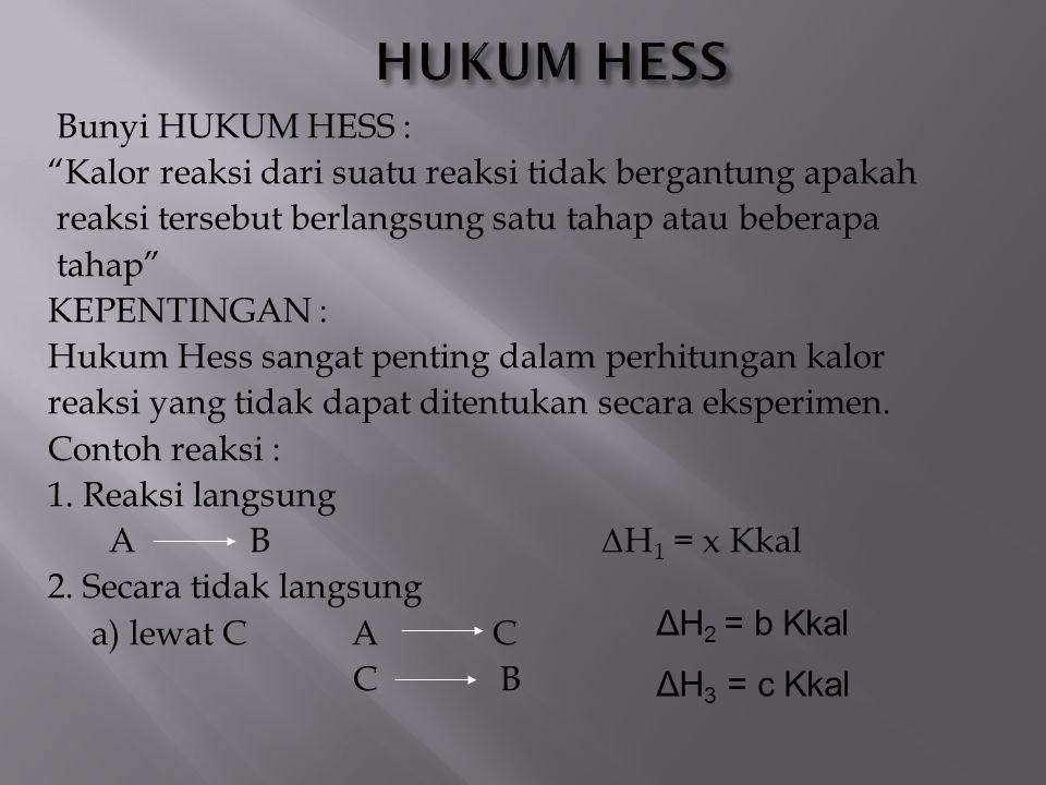 """Bunyi HUKUM HESS : """"Kalor reaksi dari suatu reaksi tidak bergantung apakah reaksi tersebut berlangsung satu tahap atau beberapa tahap"""" KEPENTINGAN : H"""