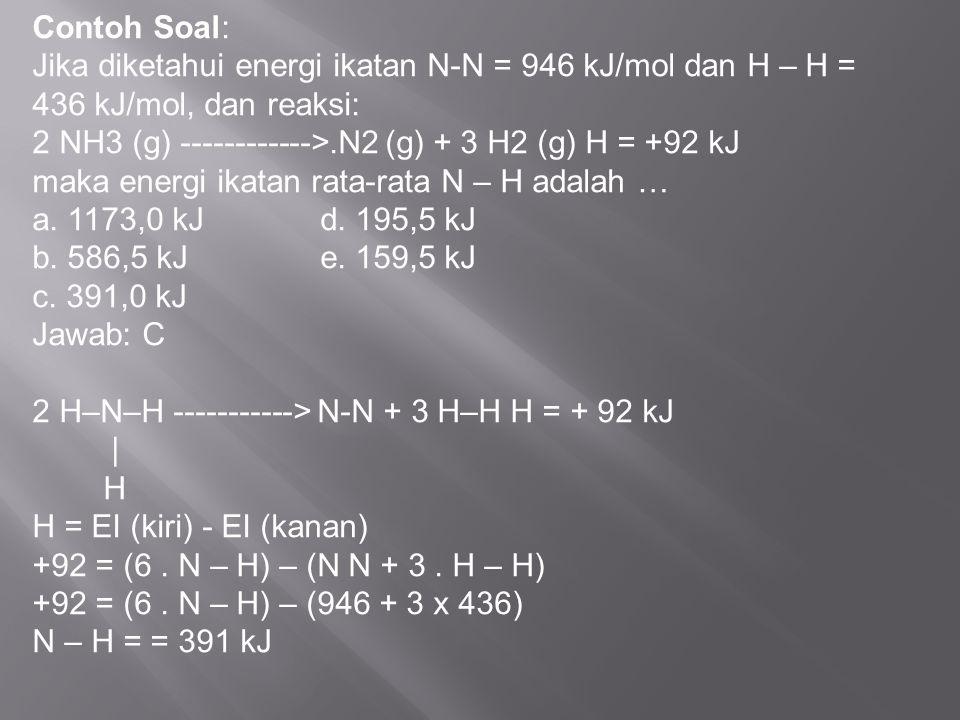 Contoh Soal: Jika diketahui energi ikatan N-N = 946 kJ/mol dan H – H = 436 kJ/mol, dan reaksi: 2 NH3 (g) ------------>.N2 (g) + 3 H2 (g) H = +92 kJ ma