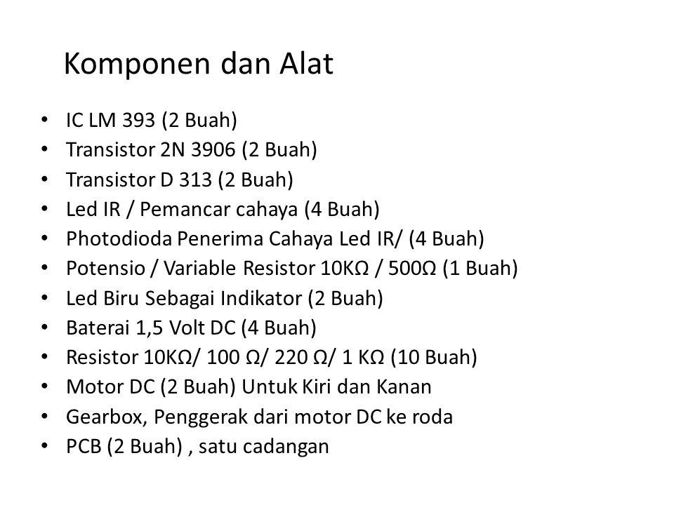 Komponen dan Alat IC LM 393 (2 Buah) Transistor 2N 3906 (2 Buah) Transistor D 313 (2 Buah) Led IR / Pemancar cahaya (4 Buah) Photodioda Penerima Cahay