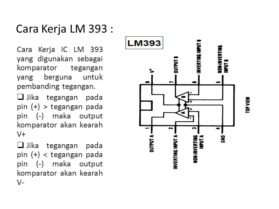Cara Kerja LM 393 : Cara Kerja IC LM 393 yang digunakan sebagai komparator tegangan yang berguna untuk pembanding tegangan.  Jika tegangan pada pin (