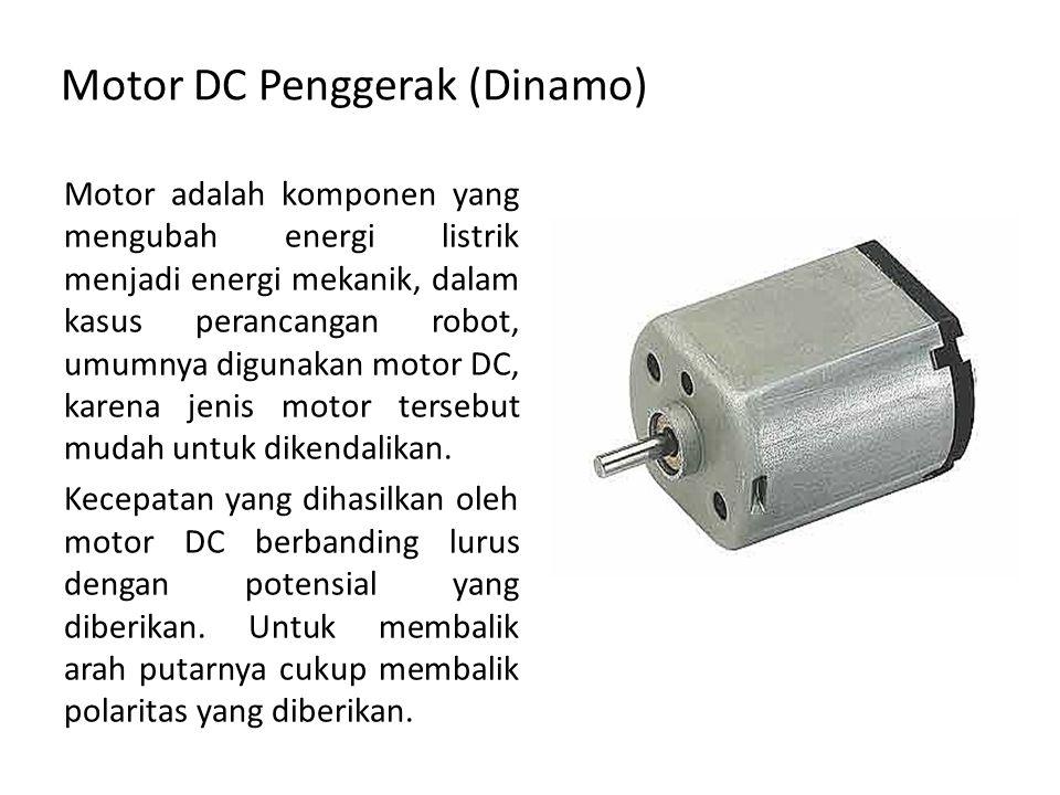 Motor DC Penggerak (Dinamo) Motor adalah komponen yang mengubah energi listrik menjadi energi mekanik, dalam kasus perancangan robot, umumnya digunaka