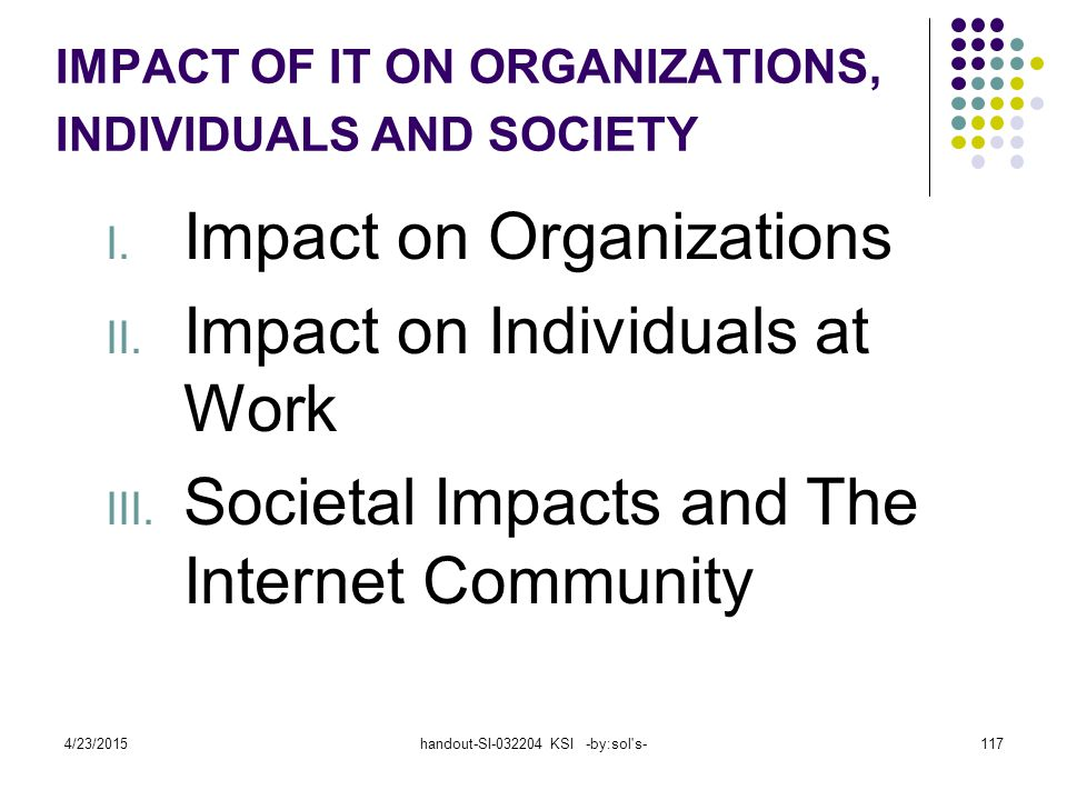 4/23/2015handout-SI-032204 KSI -by:sol's-117 I. Impact on Organizations II. Impact on Individuals at Work III. Societal Impacts and The Internet Commu