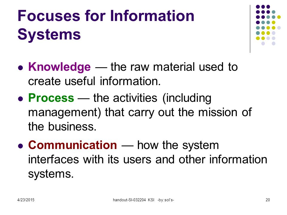 4/23/2015handout-SI-032204 KSI -by:sol's-20 Focuses for Information Systems Knowledge — the raw material used to create useful information. Process —