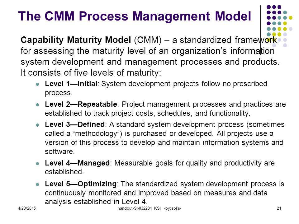 4/23/2015handout-SI-032204 KSI -by:sol s-21 The CMM Process Management Model Capability Maturity Model (CMM) – a standardized framework for assessing the maturity level of an organization's information system development and management processes and products.