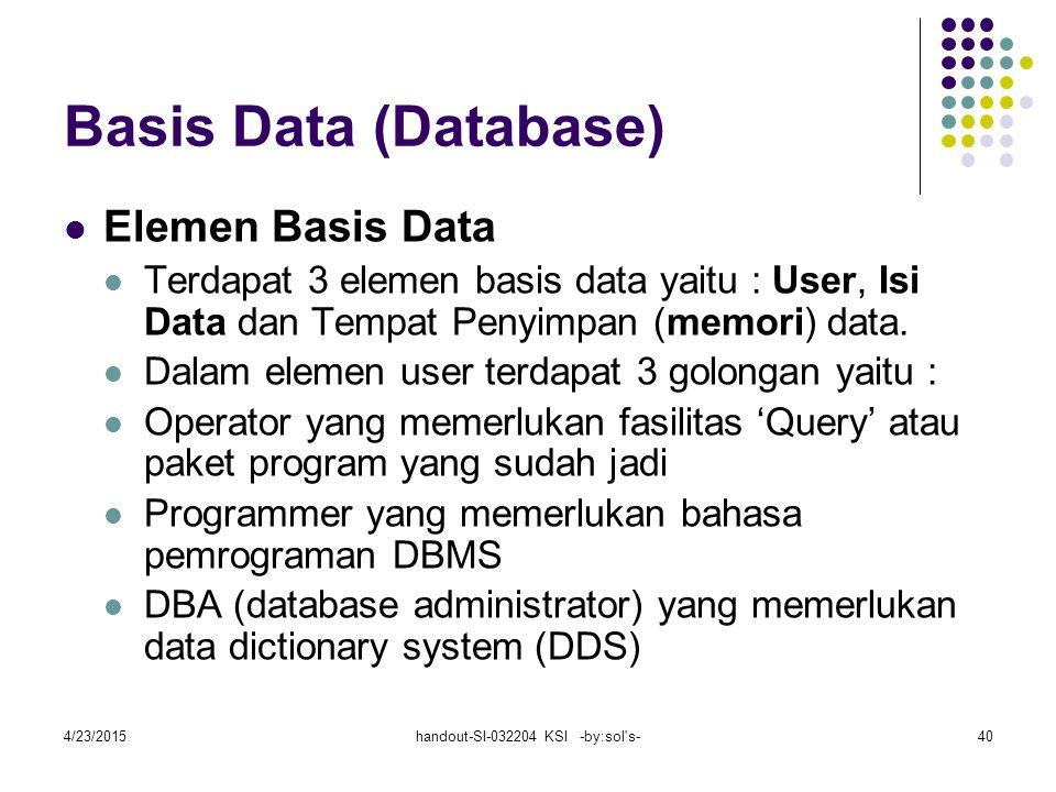 4/23/2015handout-SI-032204 KSI -by:sol s-40 Basis Data (Database) Elemen Basis Data Terdapat 3 elemen basis data yaitu : User, Isi Data dan Tempat Penyimpan (memori) data.