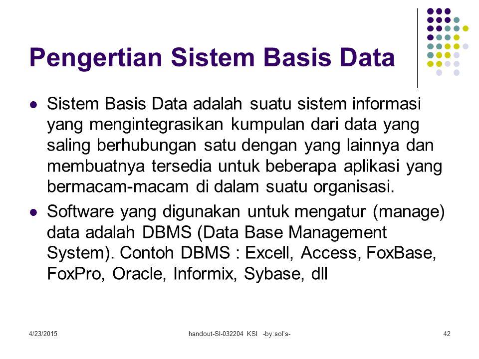 4/23/2015handout-SI-032204 KSI -by:sol s-42 Pengertian Sistem Basis Data Sistem Basis Data adalah suatu sistem informasi yang mengintegrasikan kumpulan dari data yang saling berhubungan satu dengan yang lainnya dan membuatnya tersedia untuk beberapa aplikasi yang bermacam-macam di dalam suatu organisasi.