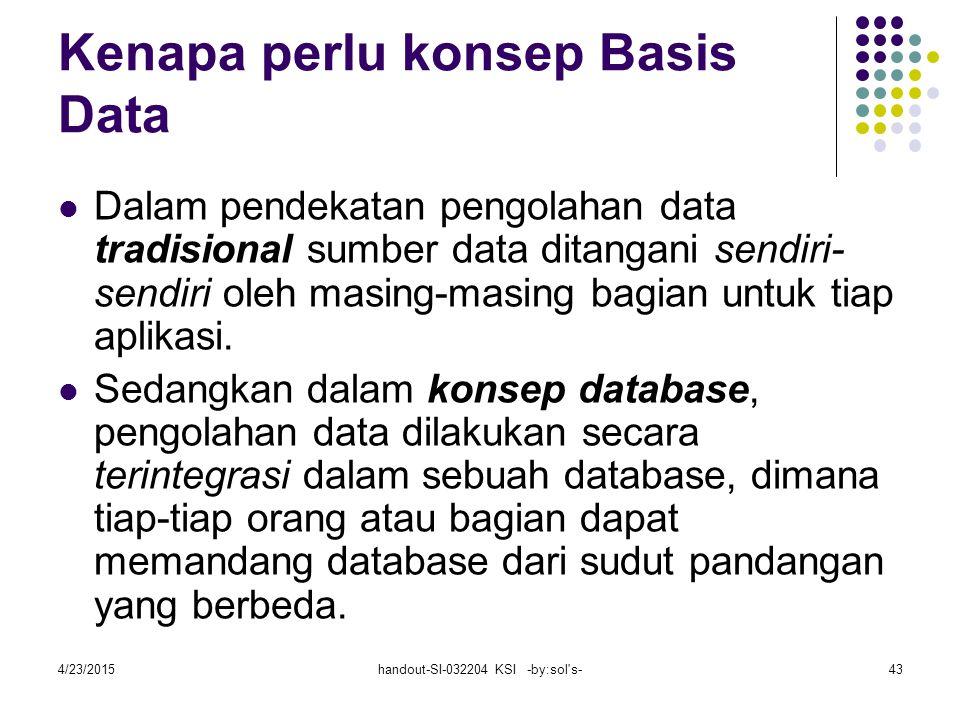 4/23/2015handout-SI-032204 KSI -by:sol s-43 Kenapa perlu konsep Basis Data Dalam pendekatan pengolahan data tradisional sumber data ditangani sendiri- sendiri oleh masing-masing bagian untuk tiap aplikasi.