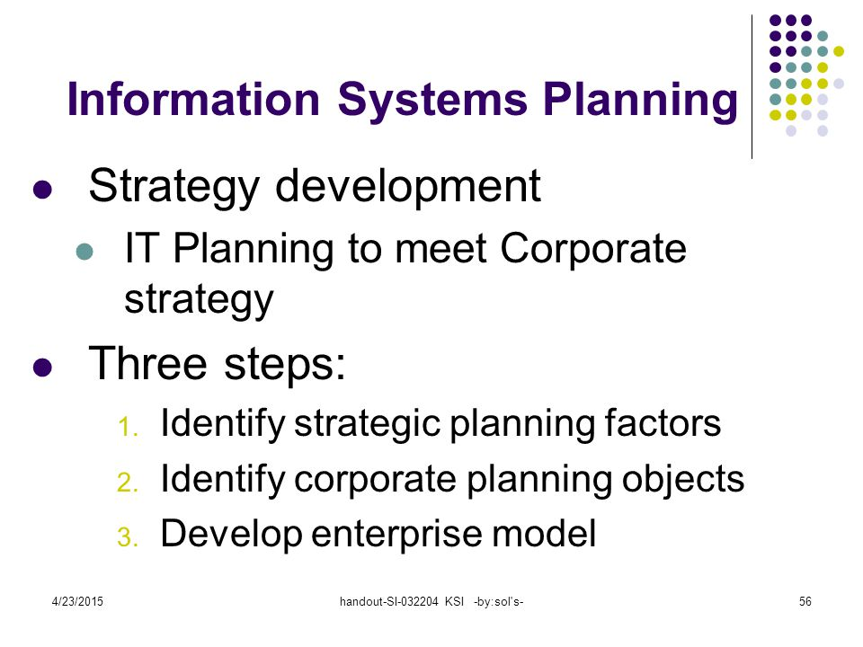 4/23/2015handout-SI-032204 KSI -by:sol s-57 Identify Strategic Planning Factors (table 2.1) Organization goals – what we hope to accomplish Critical success factors – what MUST work in order for us to survive Problem areas – weaknesses we now have