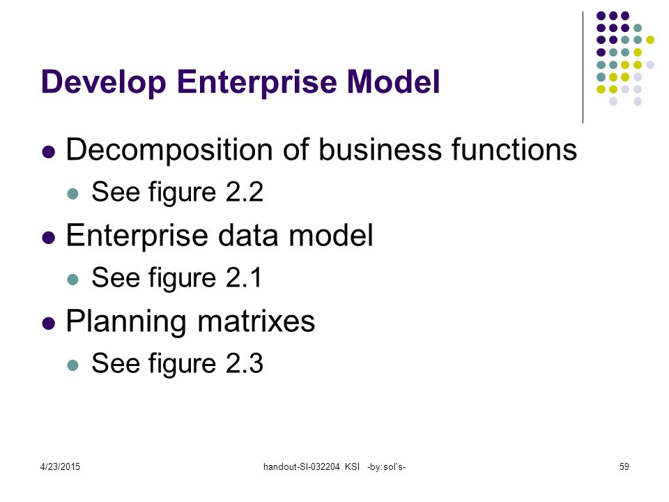 4/23/2015handout-SI-032204 KSI -by:sol's-59 Develop Enterprise Model Decomposition of business functions See figure 2.2 Enterprise data model See figu