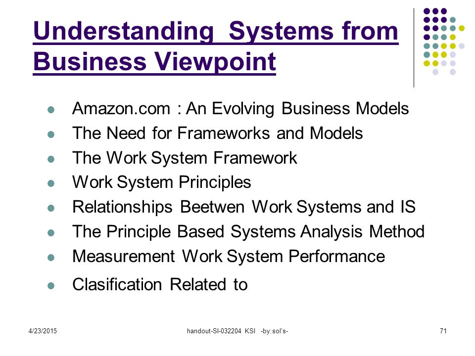 4/23/2015handout-SI-032204 KSI -by:sol s-71 Amazon.com : An Evolving Business Models The Need for Frameworks and Models The Work System Framework Work System Principles Relationships Beetwen Work Systems and IS The Principle Based Systems Analysis Method Measurement Work System Performance Clasification Related to Understanding Systems from Business Viewpoint