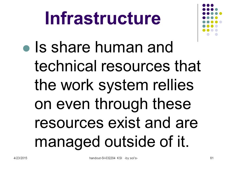 4/23/2015handout-SI-032204 KSI -by:sol s-81 Infrastructure Is share human and technical resources that the work system rellies on even through these resources exist and are managed outside of it.
