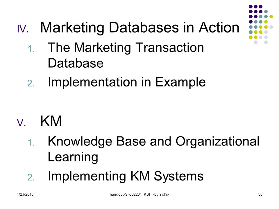 4/23/2015handout-SI-032204 KSI -by:sol s-86 IV.Marketing Databases in Action 1.