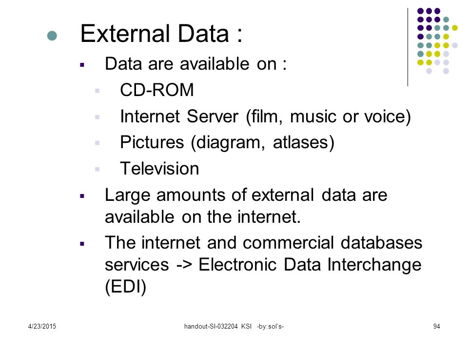 4/23/2015handout-SI-032204 KSI -by:sol s-94 External Data :  Data are available on :  CD-ROM  Internet Server (film, music or voice)  Pictures (diagram, atlases)  Television  Large amounts of external data are available on the internet.