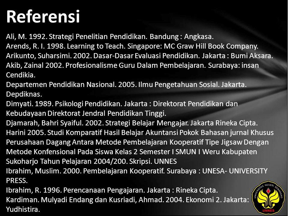 Referensi Ali, M. 1992. Strategi Penelitian Pendidikan. Bandung : Angkasa. Arends, R. I. 1998. Learning to Teach. Singapore: MC Graw Hill Book Company