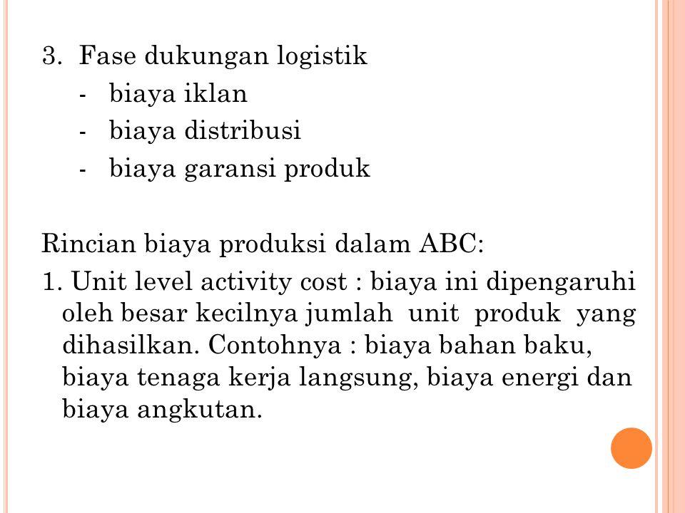 3. Fase dukungan logistik - biaya iklan - biaya distribusi - biaya garansi produk Rincian biaya produksi dalam ABC: 1. Unit level activity cost : biay