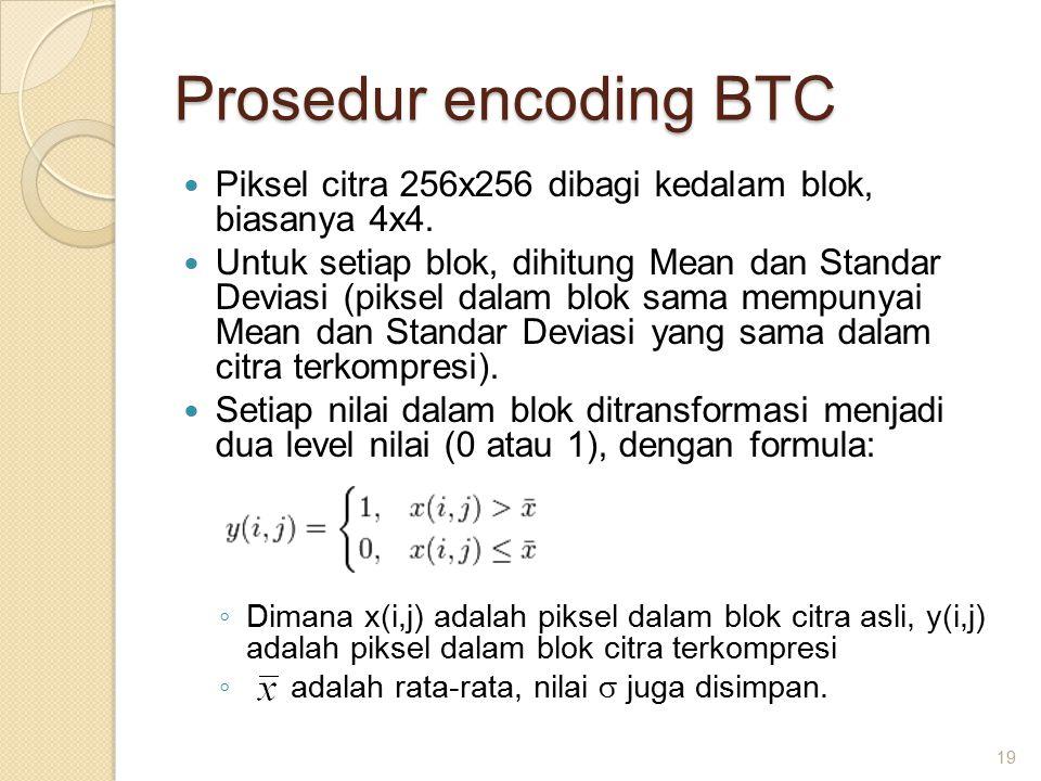Prosedur encoding BTC Piksel citra 256x256 dibagi kedalam blok, biasanya 4x4.