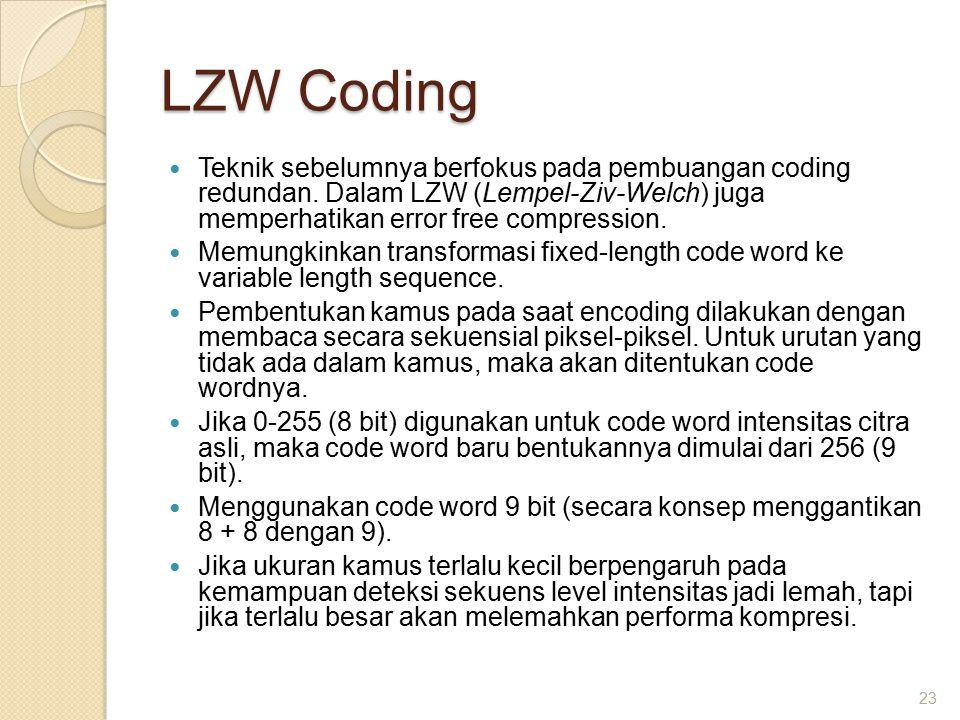 LZW Coding Teknik sebelumnya berfokus pada pembuangan coding redundan.