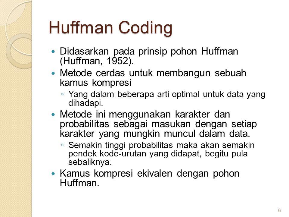 Huffman Coding Didasarkan pada prinsip pohon Huffman (Huffman, 1952).