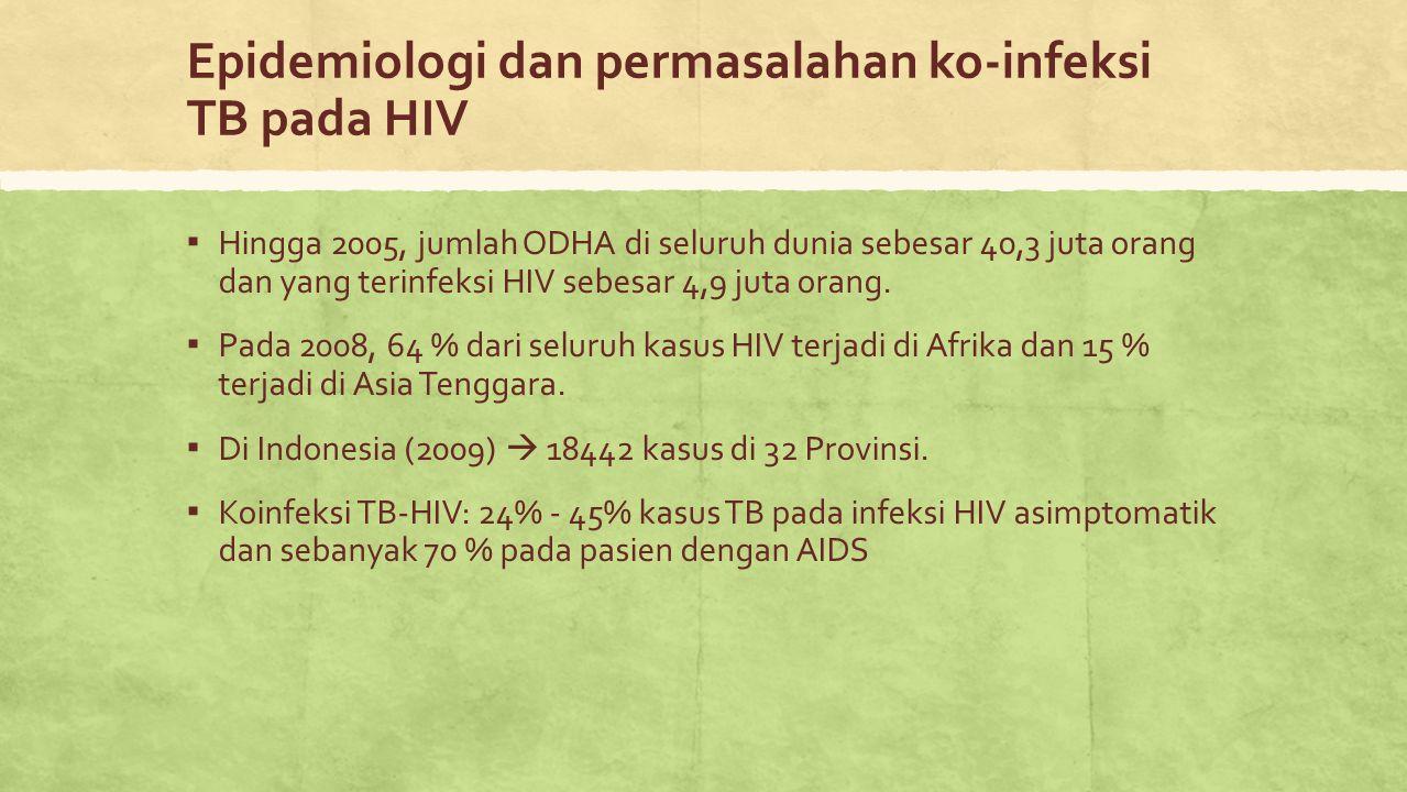 Epidemiologi dan permasalahan ko-infeksi TB pada HIV ▪ Hingga 2005, jumlah ODHA di seluruh dunia sebesar 40,3 juta orang dan yang terinfeksi HIV sebes