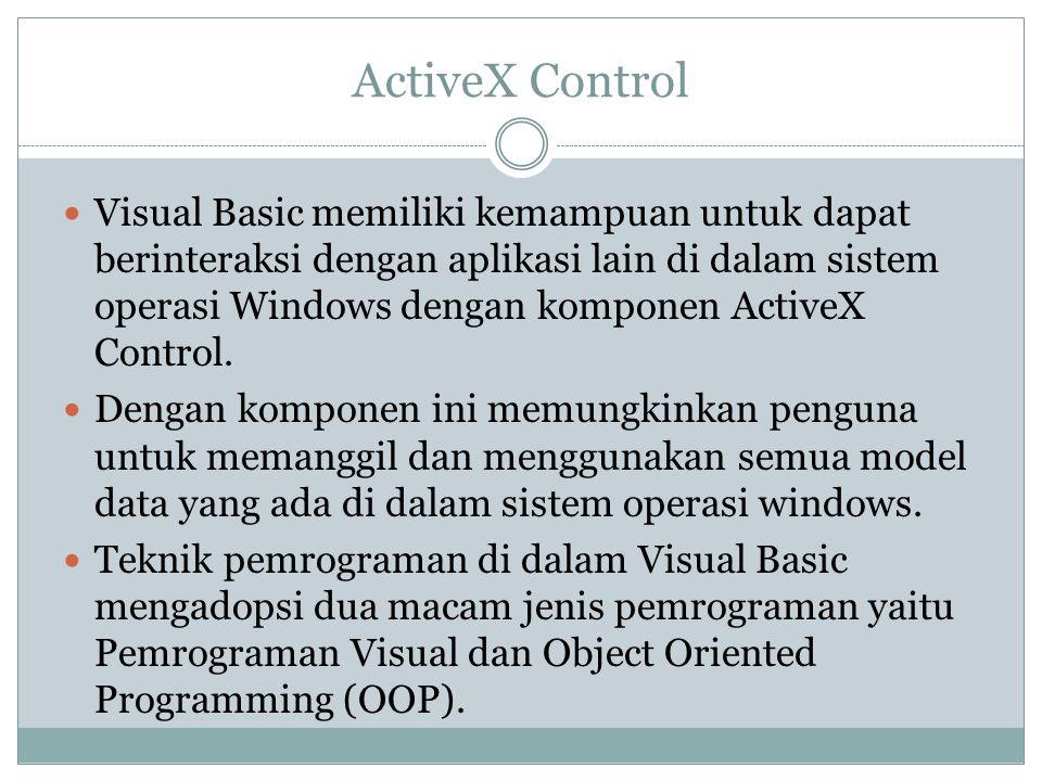 Interface Antar Muka Visual Basic 6.0 Interface antar muka Visual Basic 6.0, berisi menu, toolbar, toolbox, form, project explorer dan property Pembuatan program aplikasi menggunakan Visual Basic dilakukan dengan membuat tampilan aplikasi pada form, kemudian diberi script program di dalam komponen-komponen yang diperlukan.