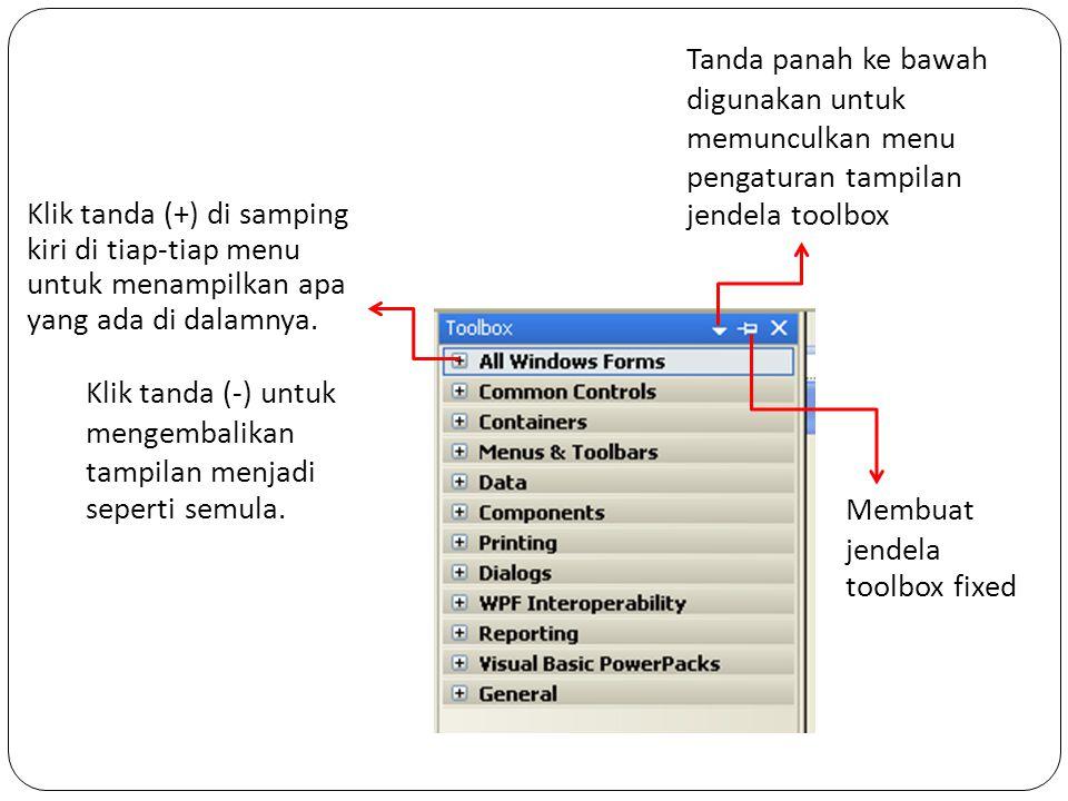 Klik tanda (+) di samping kiri di tiap-tiap menu untuk menampilkan apa yang ada di dalamnya. Klik tanda (-) untuk mengembalikan tampilan menjadi seper