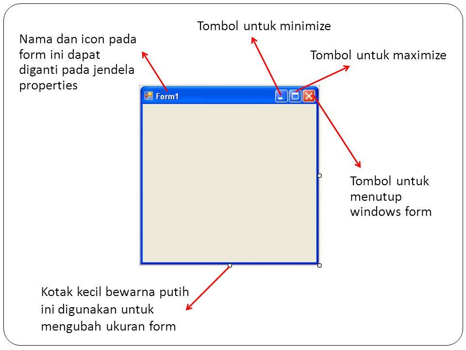 Nama dan icon pada form ini dapat diganti pada jendela properties Tombol untuk menutup windows form Tombol untuk maximize Tombol untuk minimize Kotak kecil bewarna putih ini digunakan untuk mengubah ukuran form