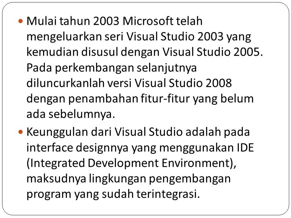 Mulai tahun 2003 Microsoft telah mengeluarkan seri Visual Studio 2003 yang kemudian disusul dengan Visual Studio 2005. Pada perkembangan selanjutnya d