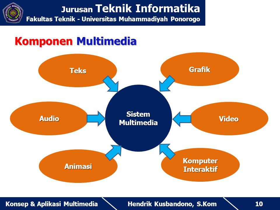 Jurusan Teknik Informatika Fakultas Teknik - Universitas Muhammadiyah Ponorogo Hendrik Kusbandono, S.KomKonsep & Aplikasi Multimedia10 Komponen Multim